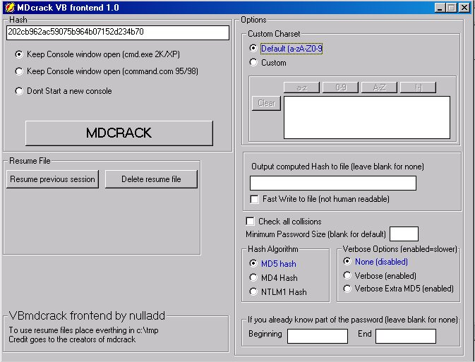 MDCrack, bruteforce your MD2/MD4/MD5/HMAC/NTLM1/IOS/PIX